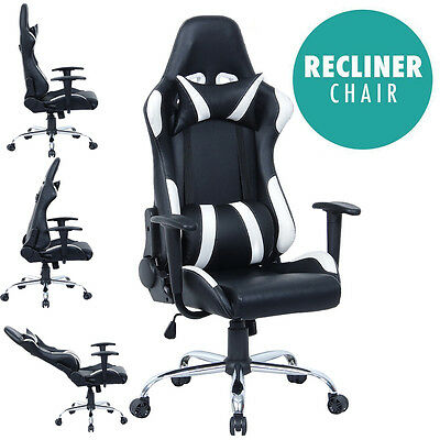 New Reclining Leather Sports Racing Office Desk Chair Gaming Computer Study