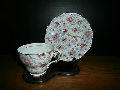 """ROYAL STANDARD TEA CUP/ SAUCER CABBAGE ROSE CHINTZ MINT FOOTED SCALLOPED 1950""""s"""