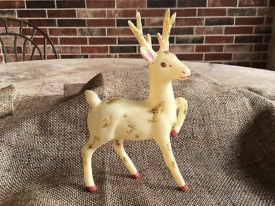 Vintage Handpainted Celluloid Plastic Prancing Reindeer With Glittering 6 1/4""