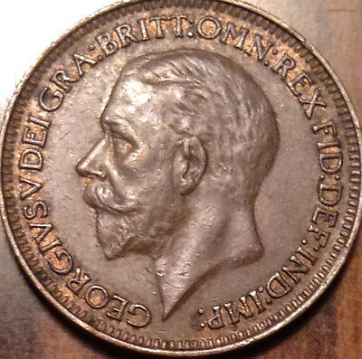 1929 Gb Uk Farthing Amazing Red/brown Beauty