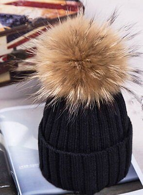 2016Hot 15cm Women Winter Racoon Fur Pom Pom Ball Knit Beanie Ski Cap Bobble Hat