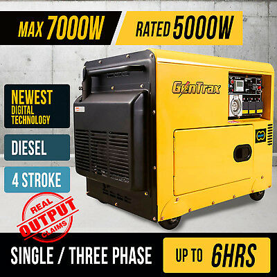 NEW GenTrax Max 8.4kVA Rated 6KW Generator Diesel Power 13HP Single Commercial