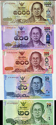 Thailand Set 5; 20 50 100 500 1000 Baht 2014-2015 P New Unc