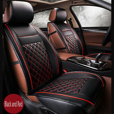 Luxury Breathable PU Leather Car Seat Covers Cushion Black Red Full Set Cover
