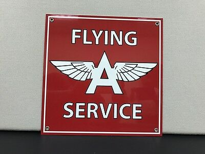 Flying A aviation gasoline racing vintage oil advertising sign