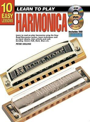 10 Easy Lessons: Learn To Play Harmonica. Sheet Music, Book, CD, DVD (Region 0)