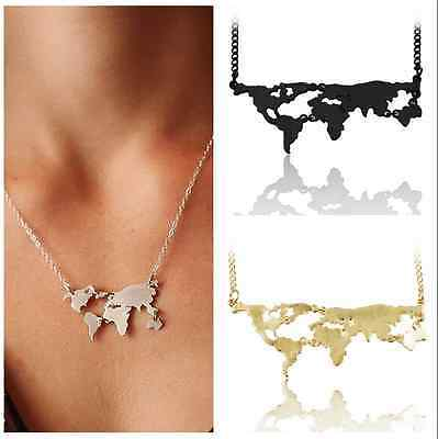 World Map Pendant Necklace Charm Collar Women Fashion Travel Abstract Jewelry