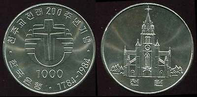 "SOUTH KOREA 1000 WON ""200th ANNIVERSARY OF THE CATHOLIC CHURCH"" 1984 COIN UNC"