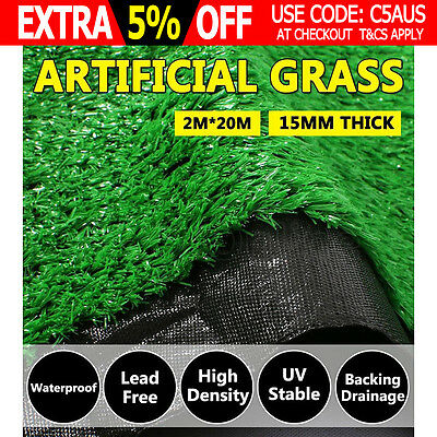 40 SQM Synthetic Turf Artificial Grass Plastic Plant Fake Lawn Flooring 15mm