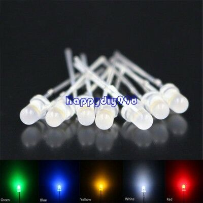 500pcs Leds 3MM Diffused 100each white red blue green yellow Round Light Lamp