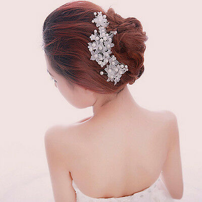 Flower Wedding Hair Pins Bridesmaid Crystal diamante Pearls Bridal Clips