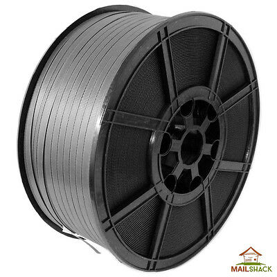 12mm x 2000m Black HEAVY DUTY Plastic Pallet Banding Hand Strapping Coil Coils