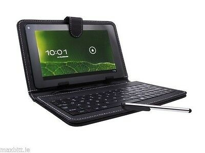 Black Leather Case Cover Micro USB Keyboard w/Stylus for 8'' inch Tablet Android