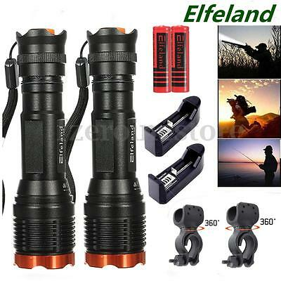 2 Sets Elfeland 6000Lm Zoomable Tactical T6 LED Flashlight Torch+Battery+Charger