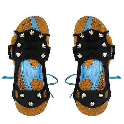 Snow Grip Spike Ice Shoes Anti Slip 10-teeth Climbing Crampons Grippers Black L