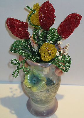 French Beaded Glass Flowers Handmade Bouquet Tulips