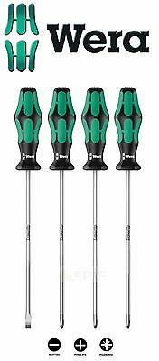 Wera Kraftform 4 Piece 200mm Long Screwdriver Set Pz1, Pz2, Ph2, Slot 347736