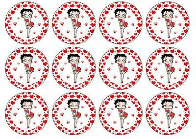 24 Betty Boop Wafer Discs Edible Cupcake Decorations BB1