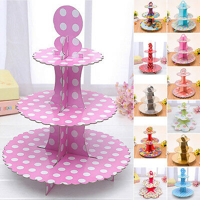 3 Tier Cardboard Cupcake Stand Plates Birthday Party Cake Muffin Holder V1Y
