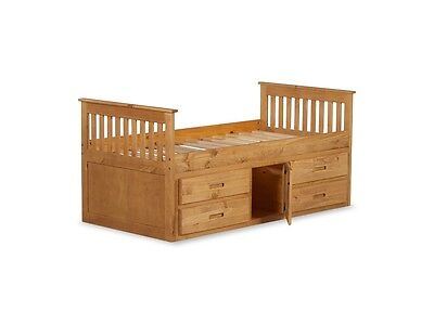 3ft Amani Solid Wood Captain Storage Bed 4 Drawers and a cupboard and Mattress