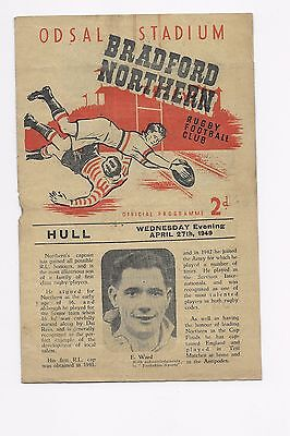 Bradford Northern V Hull 1948/49 Rugby League Programme England