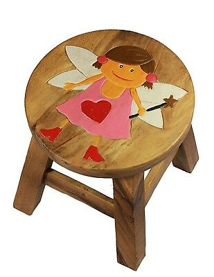 Childs Childrens Kids Wooden Stool Chair. Pink Fairy