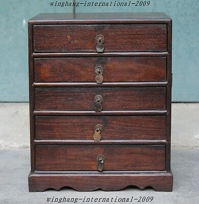 """13""""Old Chinese Huanghuali Wood Hand-Carved drawers cabinet Container Storage Box"""