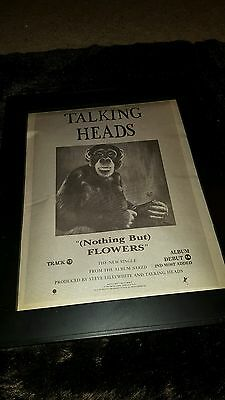 Talking Heads Nothing But Flowers Rare Original Radio Promo Poster Ad Framed!