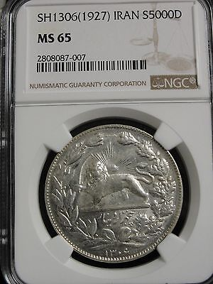 SH 1306 IRAN S5000 DINAR SILVER COIN GRADED MS65 by NGC  POP2/ 0 Higher!