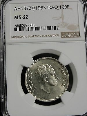 AH 1372 / 1953 IRAQ 100 FILS SILVER COIN GRADED MS62 by NGC