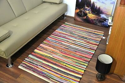 Small Extra Large 100% Cotton Handmade Multi Colour Chindi Rug Area Rag Rugs Mat