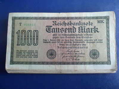 1922 German 1000 Mark Bank Note-Inflation Period-Good Cond.16-251