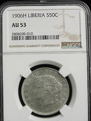 1906H LIBERIA 50 CENT SILVER COIN GRADED AU53 by NGC