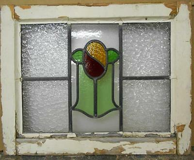"""OLD ENGLISH LEADED STAINED GLASS WINDOW Pretty Floral Design 20.5"""" x 15.25"""""""