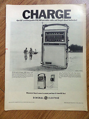 1968 GE General Electric Rechargeable Portable FM/AM Radio Ad  Model P2975
