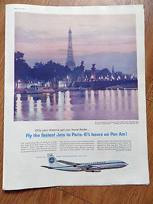1960 Pan Am Airline Ad Fastest Jets to Paris