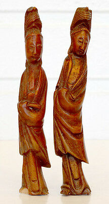 2 Chinese ANTIQUE Vintage CARVED Wooden Boxwood KWAN YIN Wood Sculpture Figures