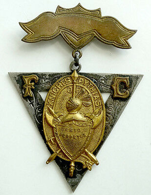 1870's ANTIQUE Vintage KNIGHTS OF PYTHIAS Lapel Pin MEDAL BADGE