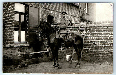 Antique WW1 GERMAN Real Photo RPPC Postcard OFFICER Soldier in Uniform on HORSE