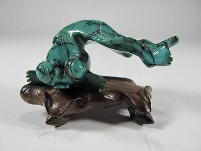 Chinese Antique Fish Sculpture - Hand Carved Malachite Stone Koi Fish