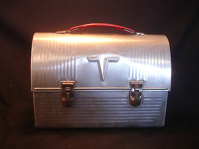 Old Vtg Aluminum Thermos Brand Metal Dome Silver Lunchbox Made In USA
