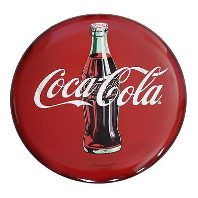 Coca Cola Tin Sign 24 in Round Hollow Curved Button Wall Art Vintage Style