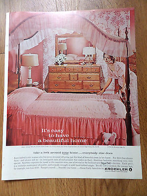 1962 Kroehler Furniture Ad Beautiful Home  Bedroom Cape Cod Collection