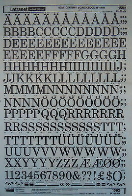 LETRASET Rub On Transfers CENTURY SCOOLBOOK 60pt 16.4mm (#1592) NEW