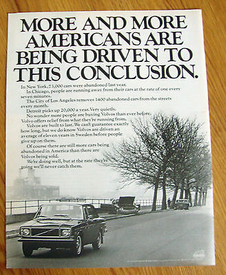 1971 Volvo Ad More & More Americans are Being Driven to this Conclusion