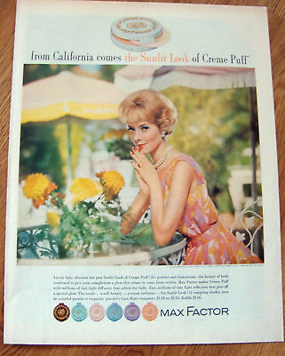 1962 Max Factor Ad  The Sunlit Look of Creme Puff