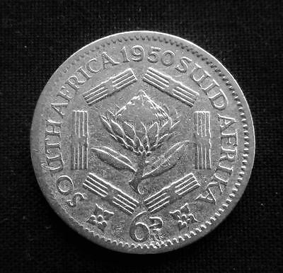 1950 Sixpence South Africa 80% Silver Coin #2761