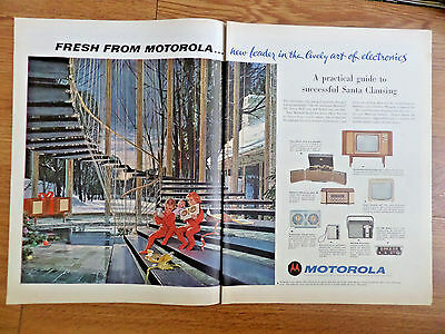 1962 Motorola TV Television Ad Futuristic Suspended on Cables Spiral Staircase