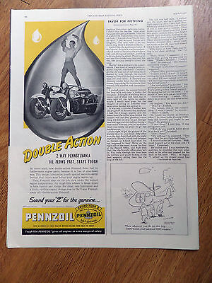 1947  Pennzoil Oil Ad Guy Riding on Two Motorcyles Harley Indian ?