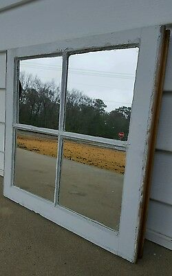 VINTAGE SASH ANTIQUE WOOD WINDOW UNIQUE FRAME PINTEREST 27x19 4 PANE MIRROR